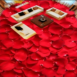 Red Rose Petals Pattern Simple Style Home Decorative Waterproof 3D Floor Murals