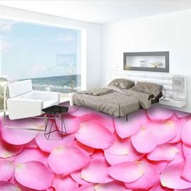 Special Pink Rose Petals Design Waterproof Home Decorative 3D Floor Murals