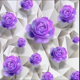 Purple Roses 3D White Waterproof Floor/Wall Murals
