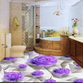 Purple Roses 3D White Waterproof Floor/Wall Murals