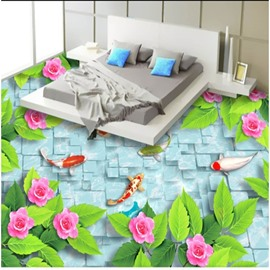 Modern Style Goldfishes and Flowers Print Nonslip and Waterproof 3D Floor Murals