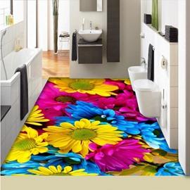 Unique Design Colorful Sunflowers Print Nonslip Splicing 3D Floor Murals