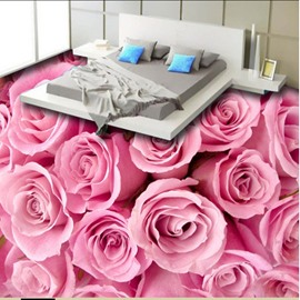 Romantic Pink Roses Pattern Home Decorative Waterproof 3D Floor Murals