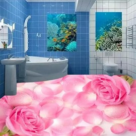 Pink Roses and Petals Print Modern Design Waterproof Splicing 3D Floor Murals