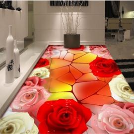 Charming Three Colors Roses Pattern Home Decorative Waterproof 3D Floor Murals