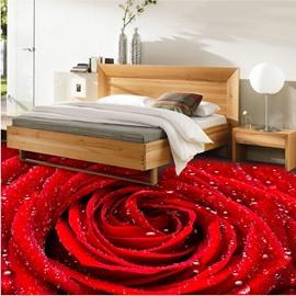 Fresh Red Rose with Water Drops Pattern Waterproof Decorative 3D Floor Murals