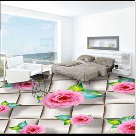 Realistic Beautiful Pink Peony Pattern Waterproof Splicing 3D Floor Murals