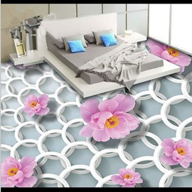 Simple Style White Circle with Pink Flowers Decoration Waterproof 3D Floor Murals