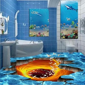 Decorative Creative Flying Birds in a Broken Hole Print Nonslip and Waterproof 3D Floor Murals