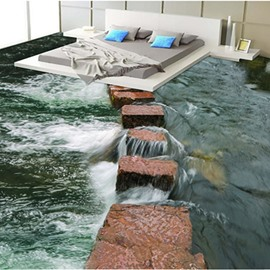 Brown Stone Path in The River 3D Waterproof Floor Murals