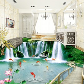 Amazing Waterfalls and Goldfishes Natural Scenery Print Nonslip and Waterproof 3D Floor Murals