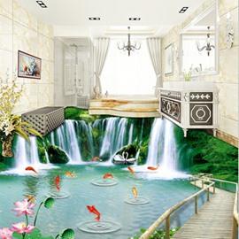 Amazing Waterfalls and Goldfishes Natural Scenery Print Nonslip and Waterproof 3D Floor Murals