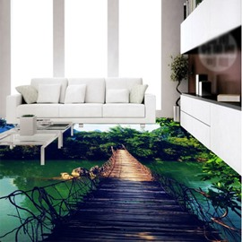 Wonderful Suspension Bridge over the River Pattern Waterproof 3D Floor Murals