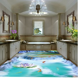 Creative Design Goldfishes in Waterfall Lake Pattern Decorative Splicing 3D Floor Murals