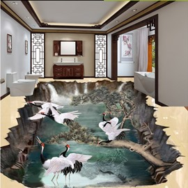 Unique Design White Cranes Standing on the Tree Pattern Waterproof 3D Floor Murals