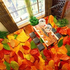 Beautiful Autumn Leaves Pattern Nonslip and Waterproof 3D Floor Murals