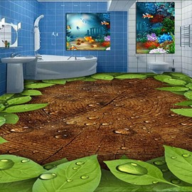 Fresh Green Leaves on the Tree Print Home Decorative Waterproof Splicing 3D Floor Murals