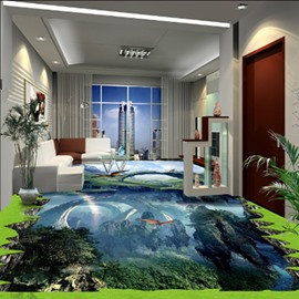 Modern Fashion Design Natural Scenery Print Waterproof Splicing 3D Floor Murals