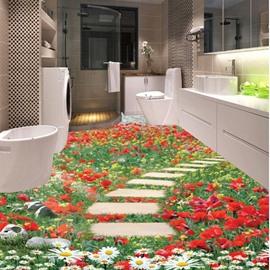 Gorgeous Flowers Stone Path Pattern Home Decorative 3D Floor Murals