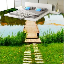 Vivid River Scenery Pattern Home Decorative Waterproof Splicing 3D Floor Murals