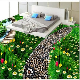 Stunning Green Grasscluster with Beautiful Flowers Pattern Waterproof 3D Floor Murals