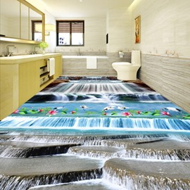 Decorative Creative Design Waterfalls and White Cranes Print Waterproof 3D Floor Murals