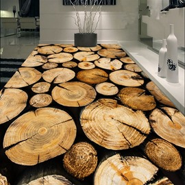 Creative Design Round Tree Rings Print Nonslip and Waterproof 3D Floor Murals