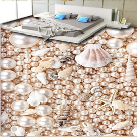 Pearls Starfishes Snails and Conches 3D Waterproof Floor Murals