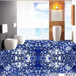 Blue Simple Style Beautiful Pebbles Pattern Nonslip and Waterproof 3D Floor Murals