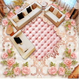 Warm Bright Pink Flower Print Nonslip and Waterproof Home Decorative 3D Floor Murals