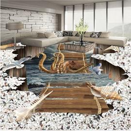 Realistic Creative Octopus on the Suspension Bridge Print Waterproof 3D Floor Murals