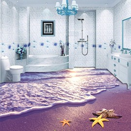 Sunset and Purple Beach Nonslip 3D Waterproof Floor Murals