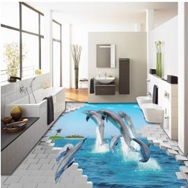 Vivid Jumping Dolphins Through the Broken Wall Print Waterproof 3D Floor Murals