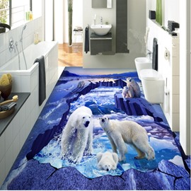 Super Cool Polar Bear on the Ice Print Decorative Waterproof 3D Floor Murals