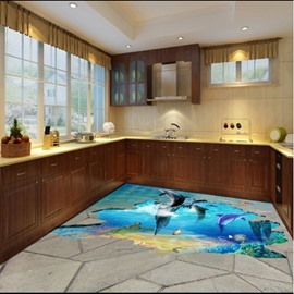 Amusing Jumping Dolphins in Broken Floor Pattern Waterproof 3D Floor Murals