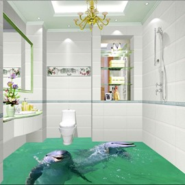 Simple Style Two Cute Dolphins Playing in the Water Print Waterproof 3D Floor Murals