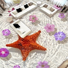 Glinting Starfish and Flower in Limpid Water Print Nonslip and Waterproof 3D Floor Murals