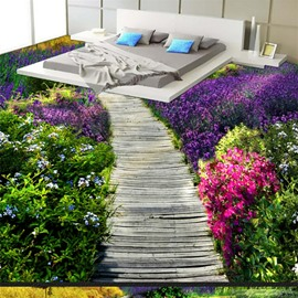 Beautiful Wooden Path Through the Lavender Field Print Countryside Waterproof Splicing 3D Floor Murals