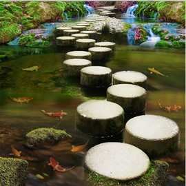 Natural Stone Path Through the River Pattern Waterproof Splicing 3D Floor Murals