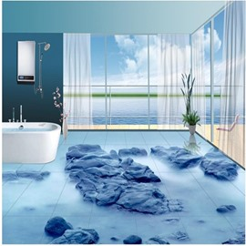 Simple Style Stone in the Seaside Print Nonslip and Waterproof 3D Floor Murals