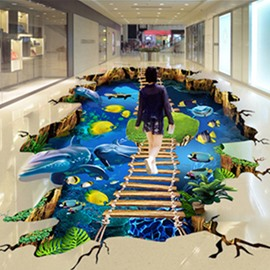 3D Dolphins Fishes Wooden Suspension Bridge Waterproof Nonslip Self-Adhesive Blue Floor Art Murals