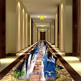 3D Wooden Suspension Bridge in Sky Pattern Waterproof Nonslip Self-Adhesive Floor Art Murals