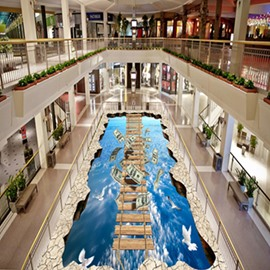 3D Wooden Suspension Bridge Blue Sky Pattern Waterproof Nonslip Self-Adhesive Floor Art Murals