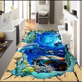 3D Wooden Crack Dolphins and Turtle Pattern Waterproof Nonslip Self-Adhesive Blue Floor Art Murals