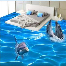 3D Ocean Three Dolphin Out OPf Water Pattern Waterproof Nonslip Self-Adhesive Blue Floor Art Murals