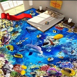 3D Deep Sea Dolphin and Colorful Marine life Pattern Waterproof Nonslip Self-Adhesive Blue Floor Art Murals