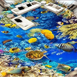 3D Deep Sea and Kinds of Fish Pattern Waterproof Nonslip Self-Adhesive Blue Floor Art Murals