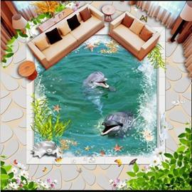 3D Green Leaf Ocean Water and Dolphins and Fishing Pattern Waterproof Nonslip Self-Adhesive Green Floor Art Murals