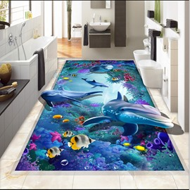 3D Colorful Coral and Dolphins and Fishing Pattern Waterproof Nonslip Self-Adhesive Blue Floor Art Murals