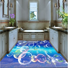 3D Transparent Bubbles Flying Pattern Waterproof Nonslip Self-Adhesive Blue Floor Art Murals